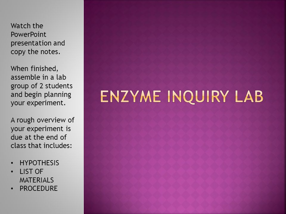 ENZYME INQUIRY LAB Watch the PowerPoint presentation and copy the notes.