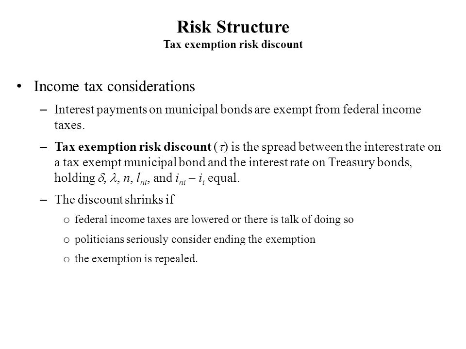 Tax exemption risk discount
