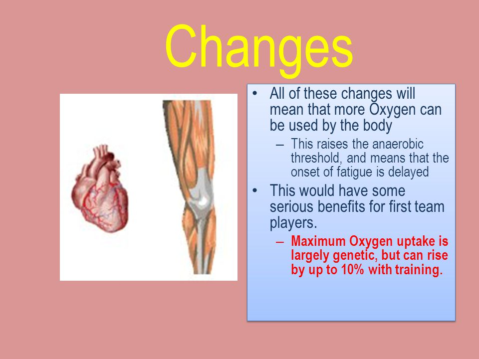 Changes All of these changes will mean that more Oxygen can be used by the body.