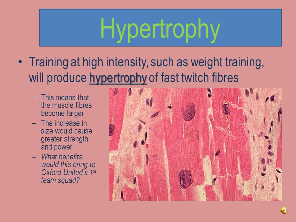Hypertrophy Training at high intensity, such as weight training, will produce hypertrophy of fast twitch fibres.