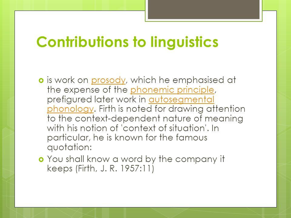 Contributions to linguistics