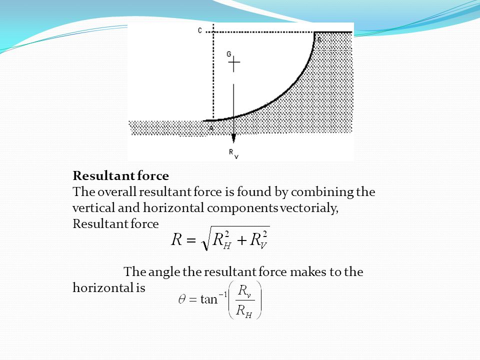 Resultant force The overall resultant force is found by combining the vertical and horizontal components vectorialy,