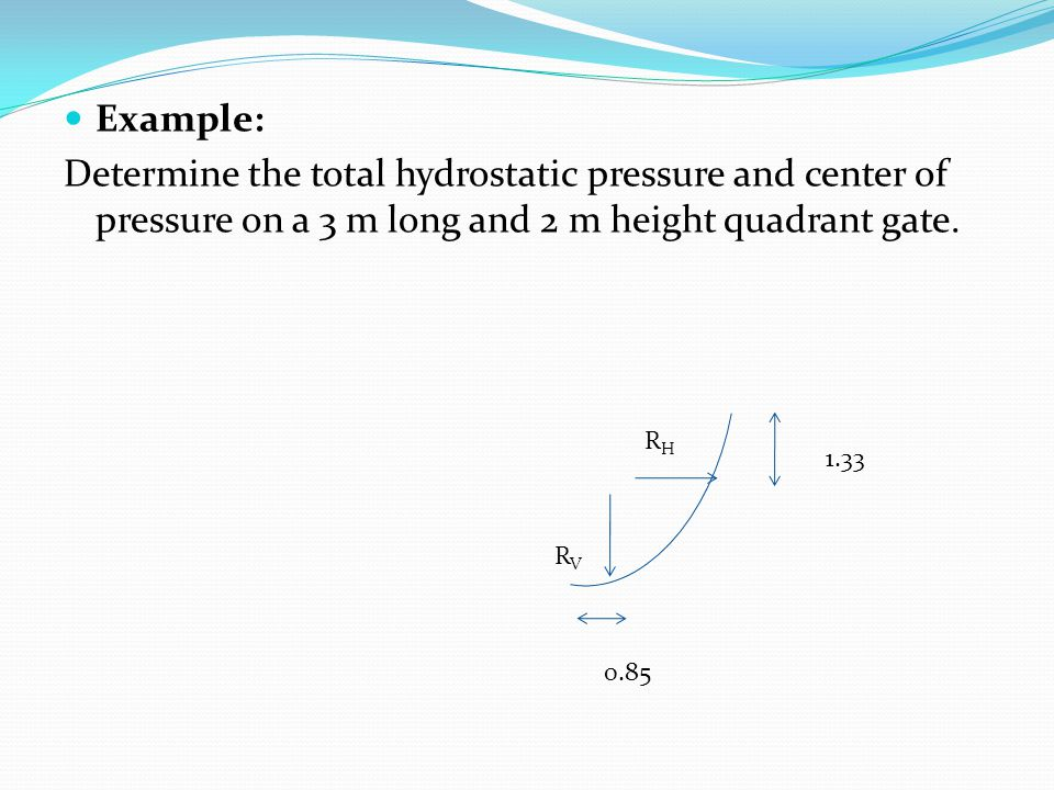 Example: Determine the total hydrostatic pressure and center of pressure on a 3 m long and 2 m height quadrant gate.