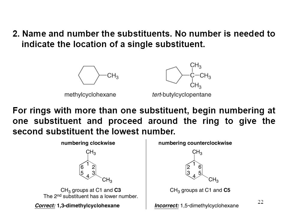 2. Name and number the substituents