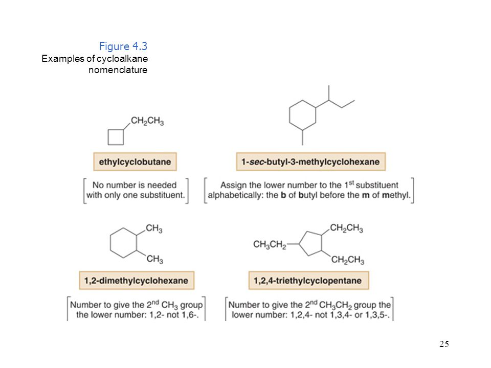 Figure 4.3 Examples of cycloalkane nomenclature