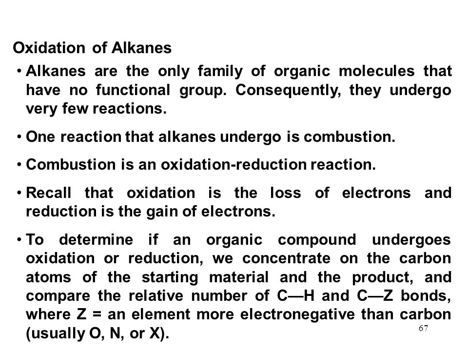 Oxidation of Alkanes Alkanes are the only family of organic molecules that have no functional group. Consequently, they undergo very few reactions.