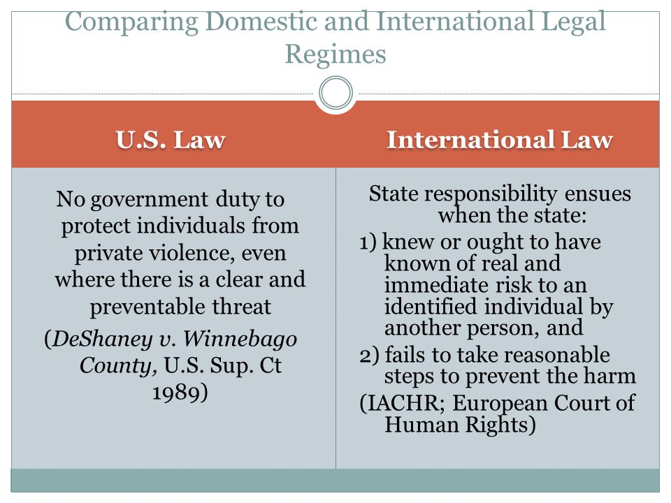 Comparing Domestic and International Legal Regimes