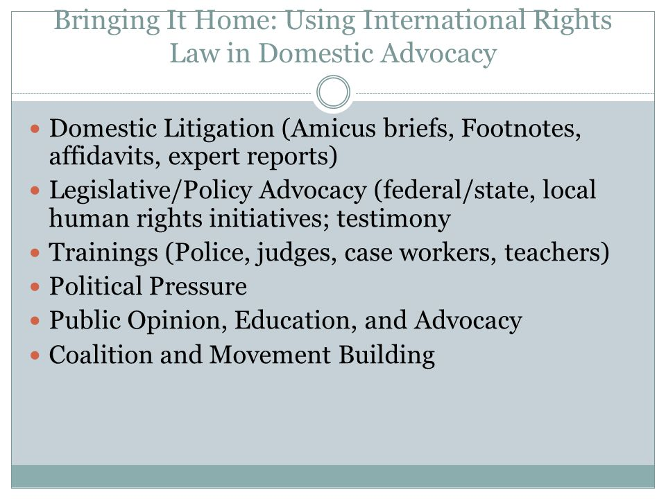 Bringing It Home: Using International Rights Law in Domestic Advocacy