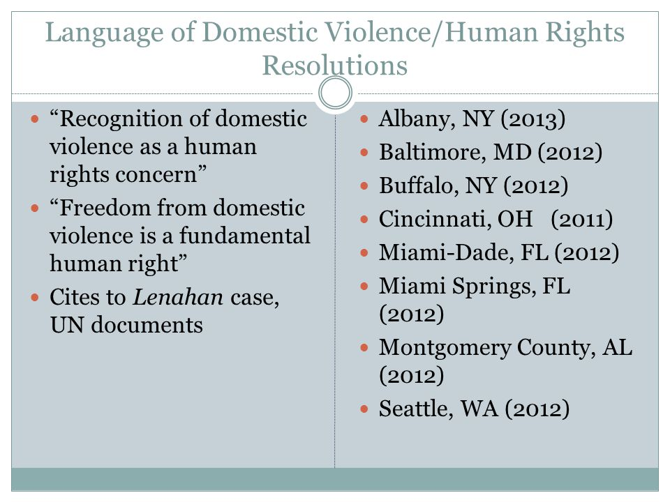 Language of Domestic Violence/Human Rights Resolutions
