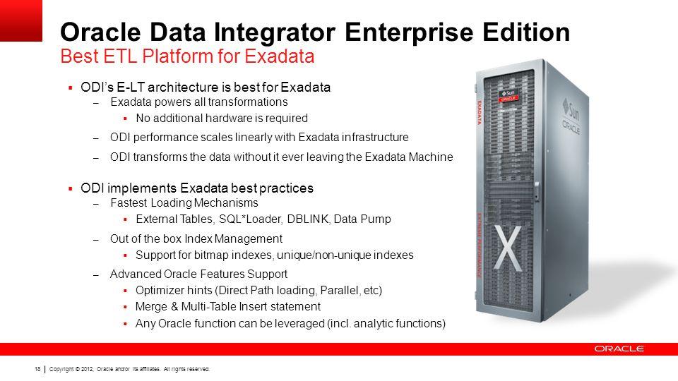 Oracle Data Integrator Enterprise Edition Best ETL Platform for Exadata