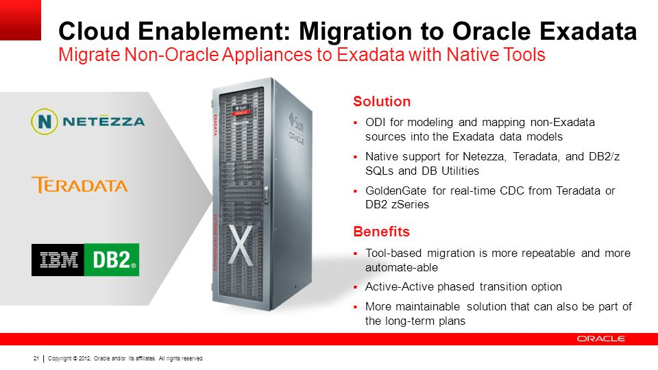 Cloud Enablement: Migration to Oracle Exadata Migrate Non-Oracle Appliances to Exadata with Native Tools