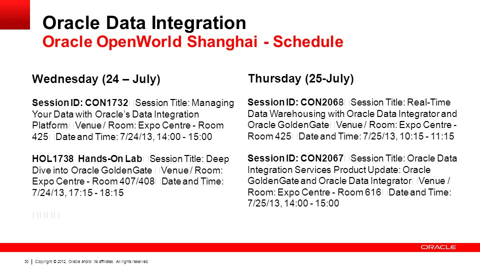 Oracle Data Integration