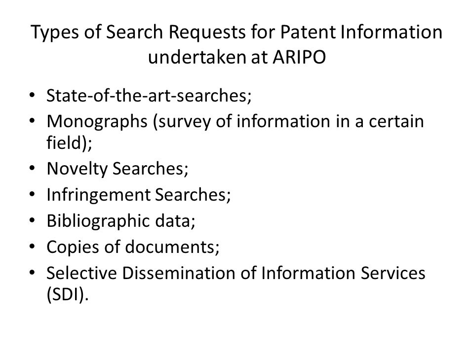 Types of Search Requests for Patent Information undertaken at ARIPO