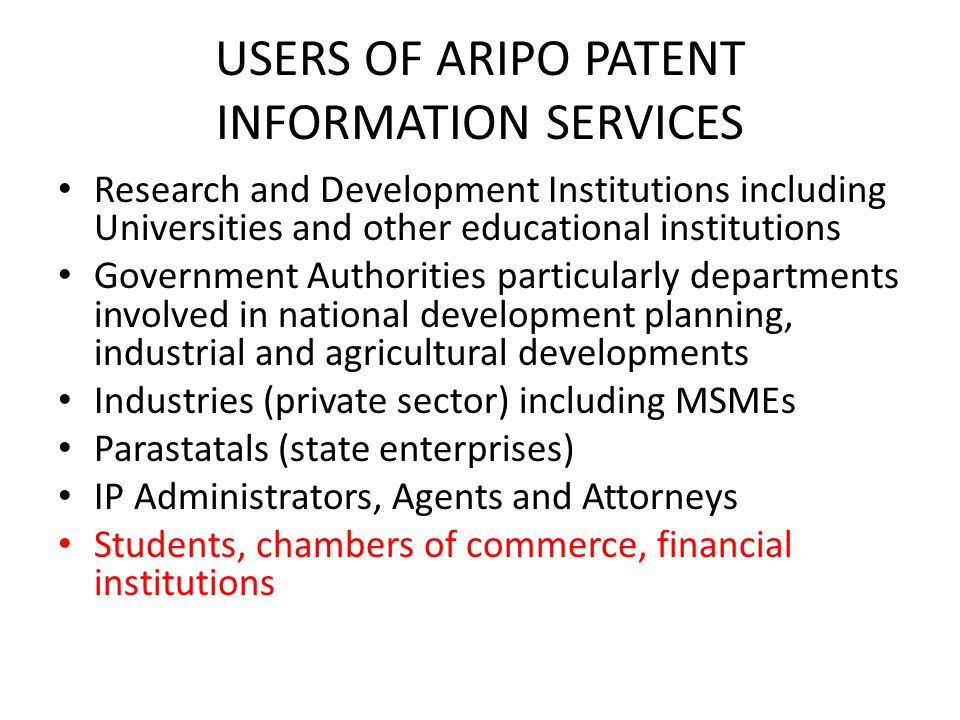 USERS OF ARIPO PATENT INFORMATION SERVICES