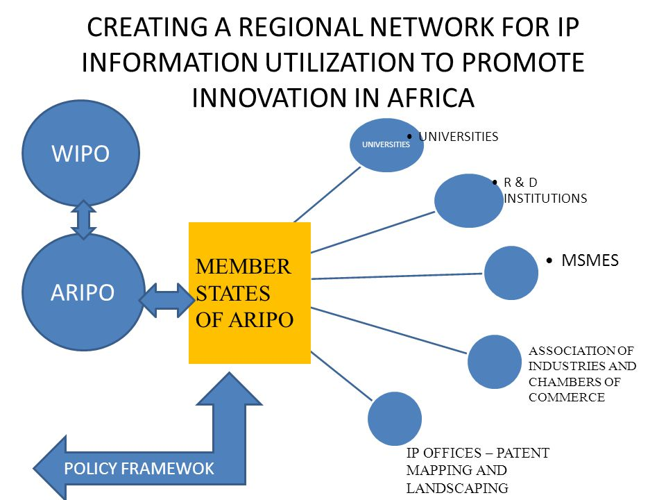 CREATING A REGIONAL NETWORK FOR IP INFORMATION UTILIZATION TO PROMOTE INNOVATION IN AFRICA