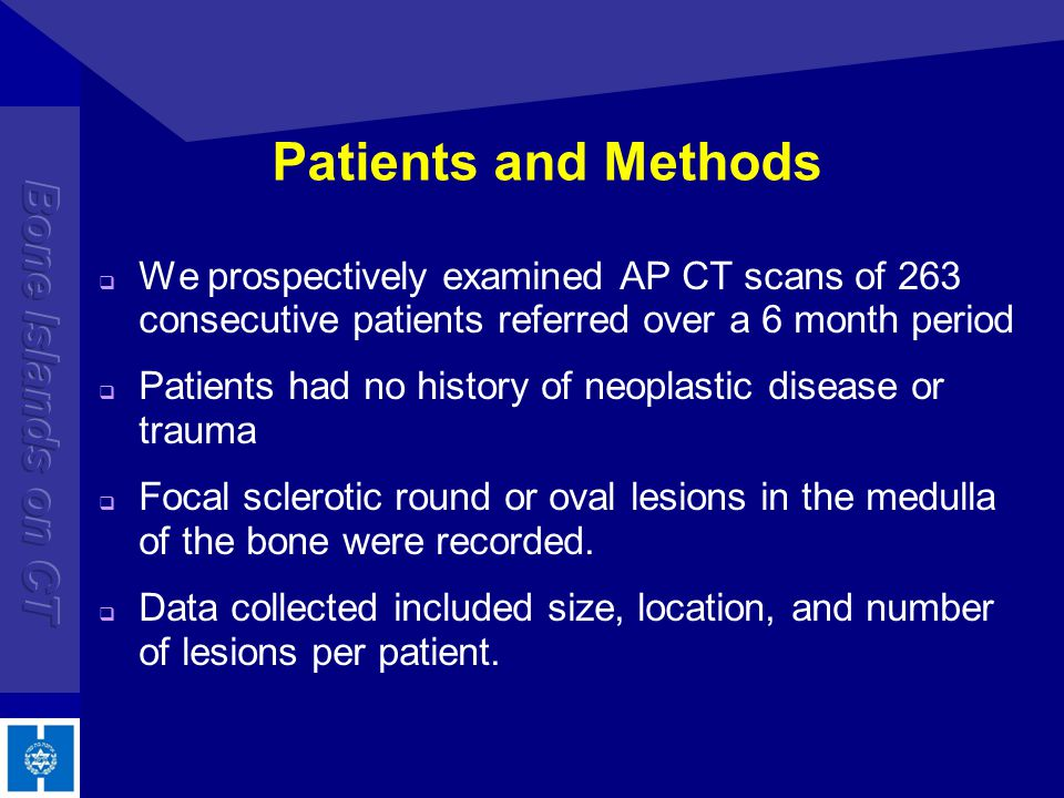 Patients and Methods We prospectively examined AP CT scans of 263 consecutive patients referred over a 6 month period.