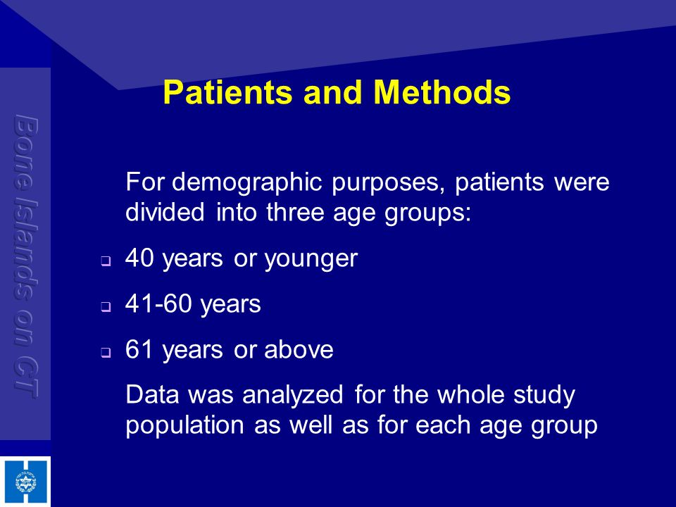 Patients and Methods For demographic purposes, patients were divided into three age groups: 40 years or younger.