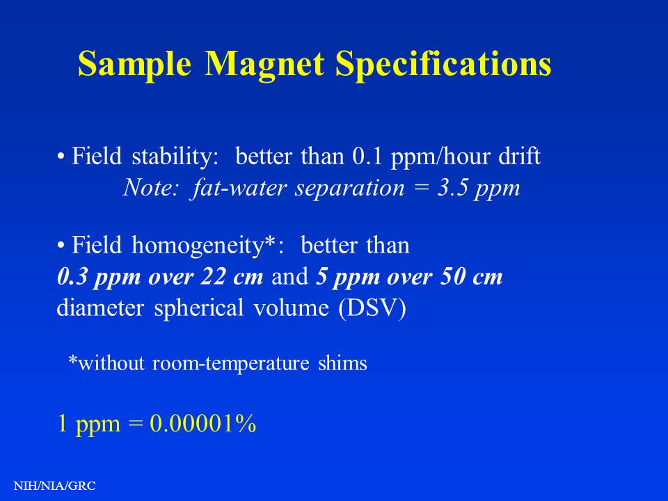 Sample Magnet Specifications