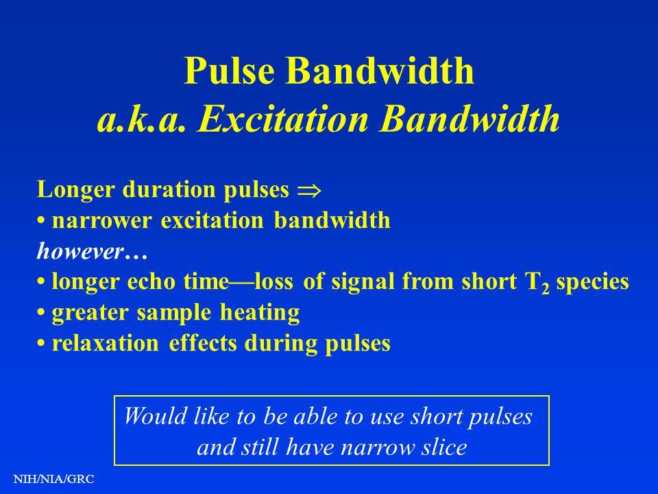 Pulse Bandwidth a.k.a. Excitation Bandwidth