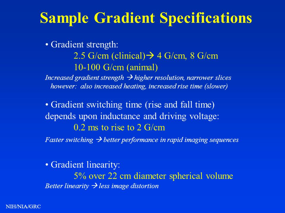 Sample Gradient Specifications