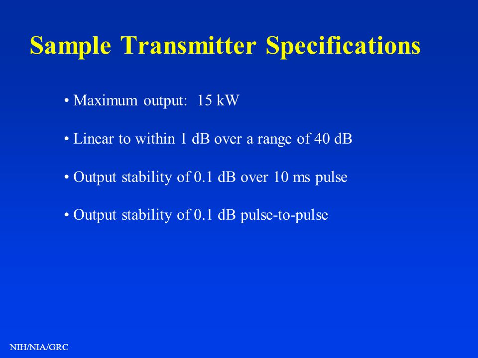 Sample Transmitter Specifications