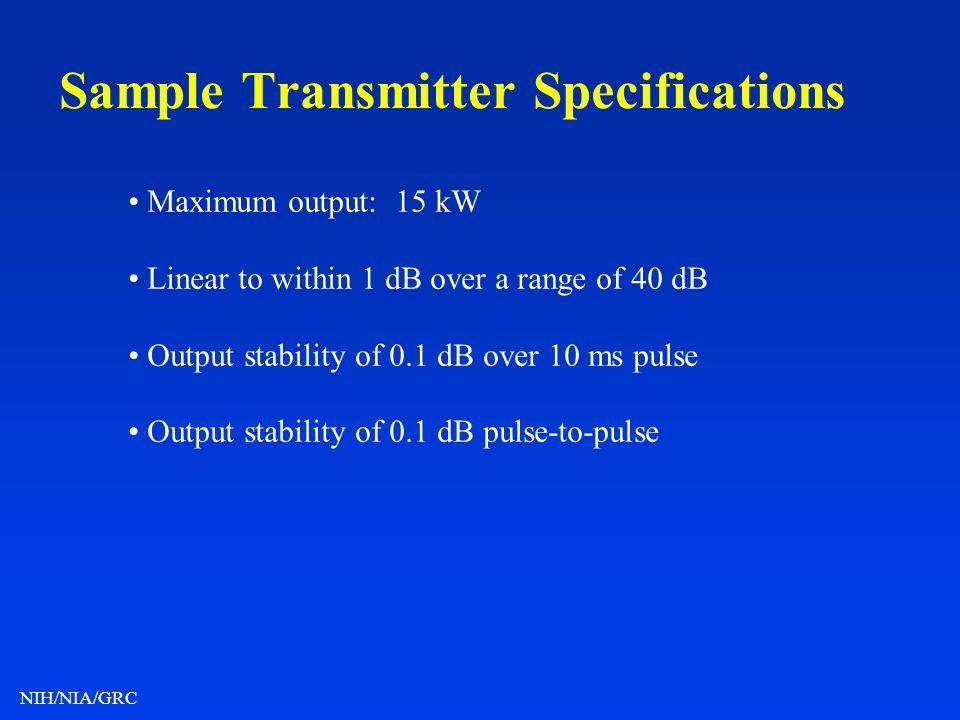 Sample Transmitter Specifications