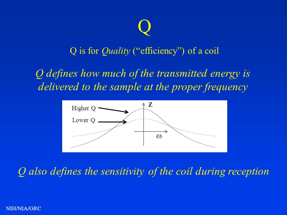 Q also defines the sensitivity of the coil during reception
