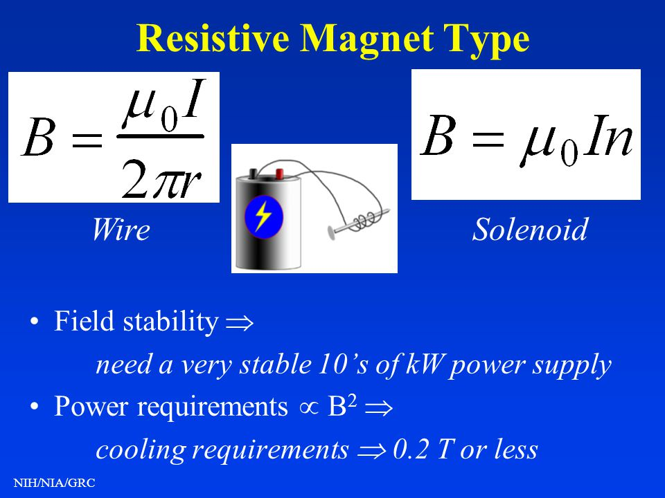 Resistive Magnet Type Wire Solenoid • Field stability 