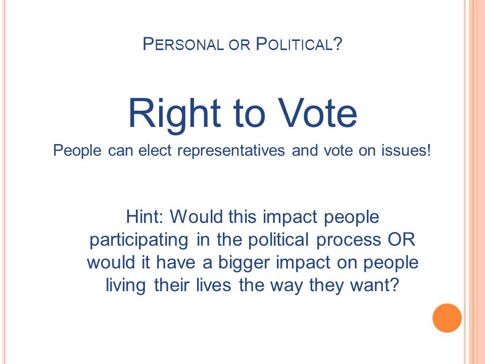 People can elect representatives and vote on issues!