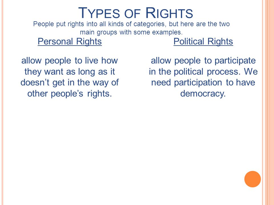 Types of Rights People put rights into all kinds of categories, but here are the two main groups with some examples.
