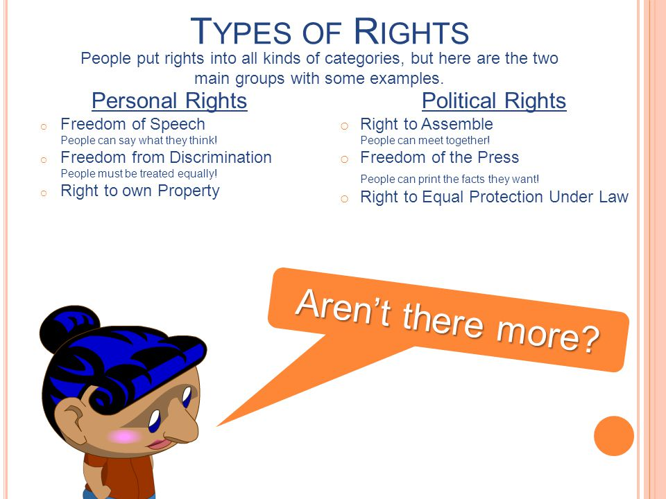 Types of Rights Aren't there more Personal Rights Political Rights