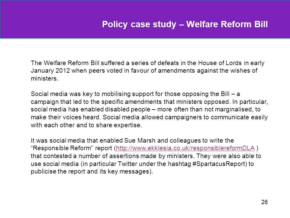 Policy case study – Welfare Reform Bill