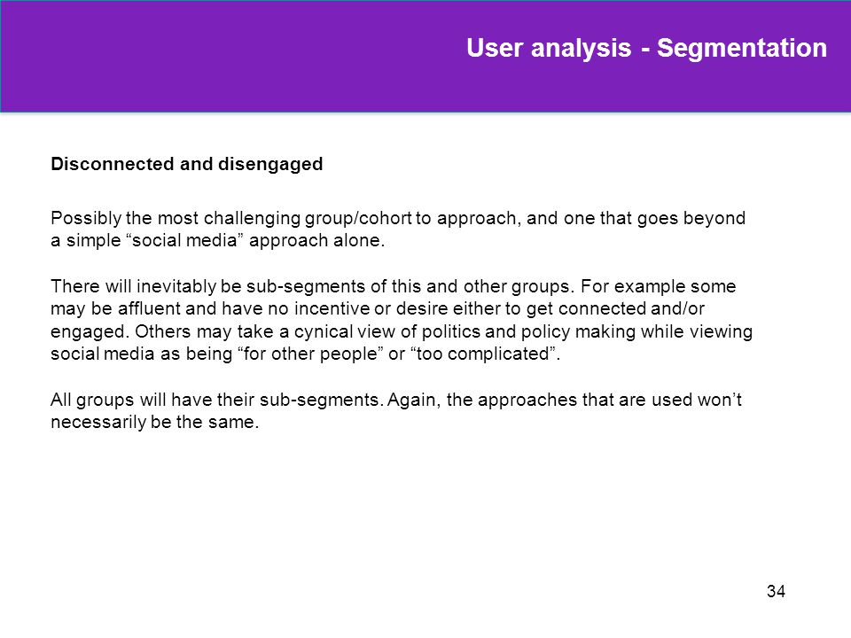 User analysis - Segmentation