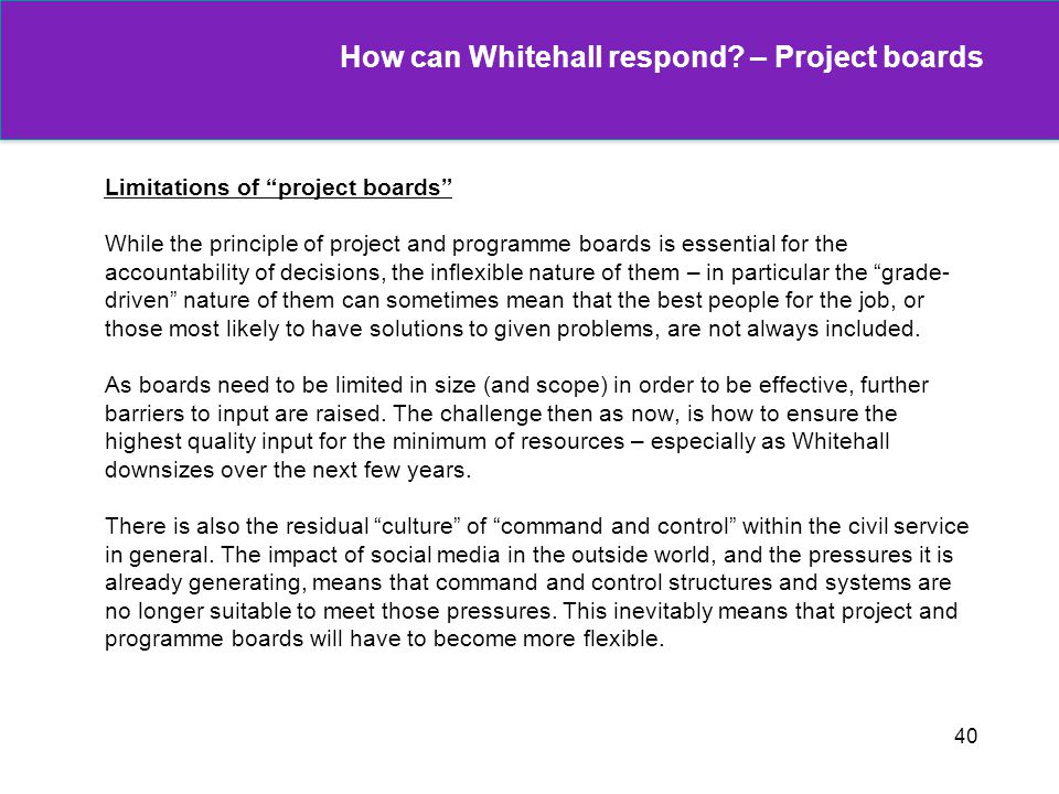 How can Whitehall respond – Project boards
