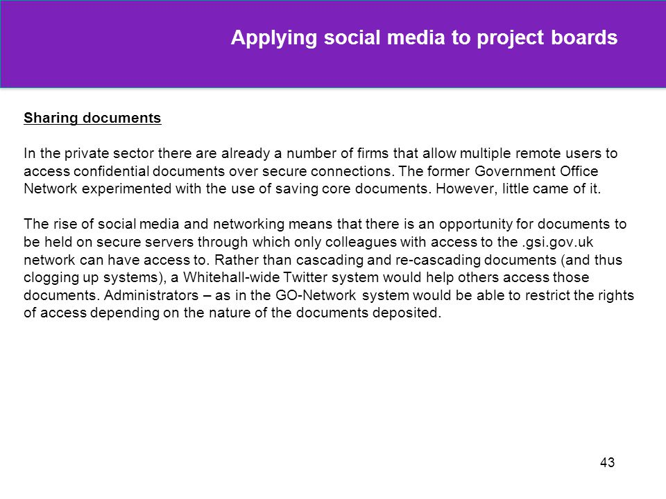 Applying social media to project boards