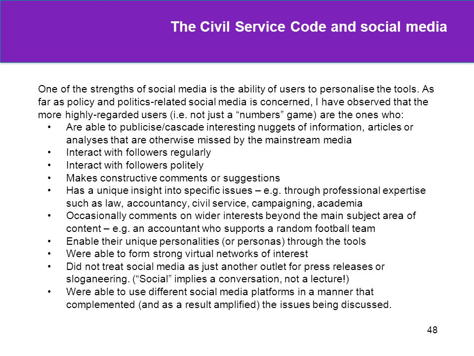 The Civil Service Code and social media