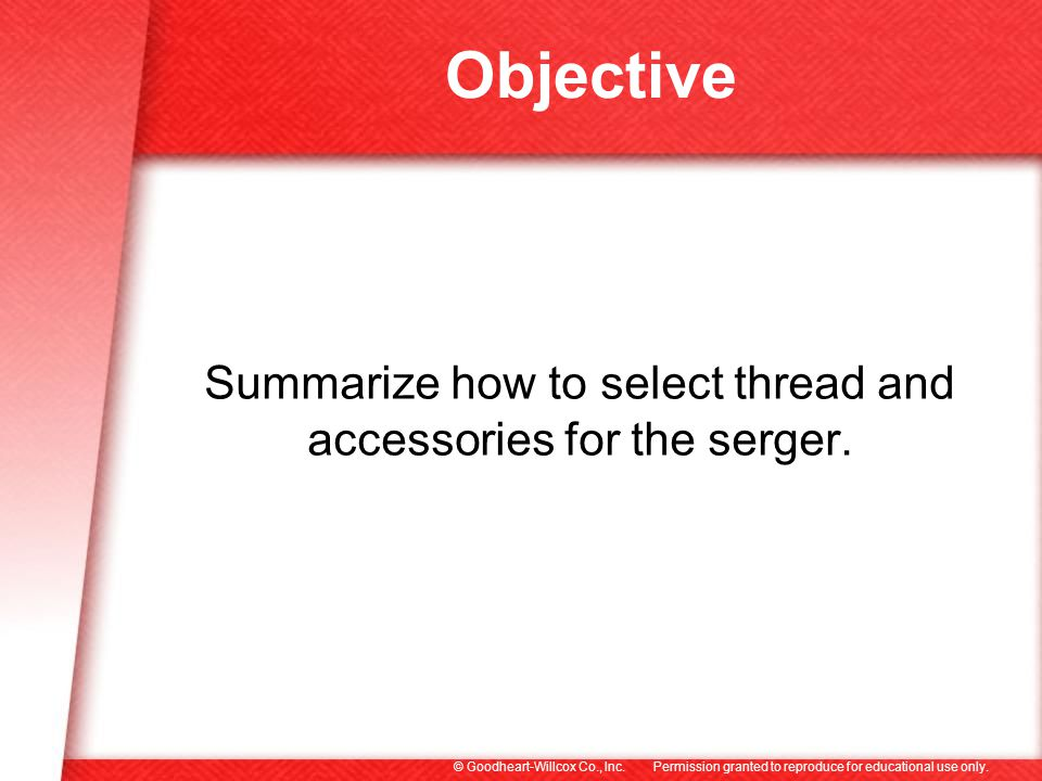 Summarize how to select thread and accessories for the serger.