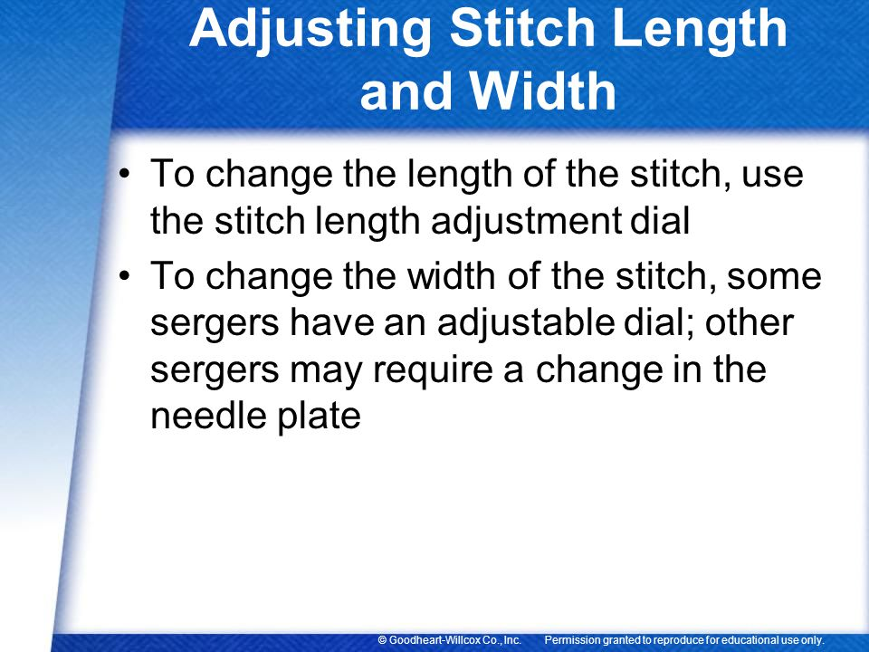 Adjusting Stitch Length and Width