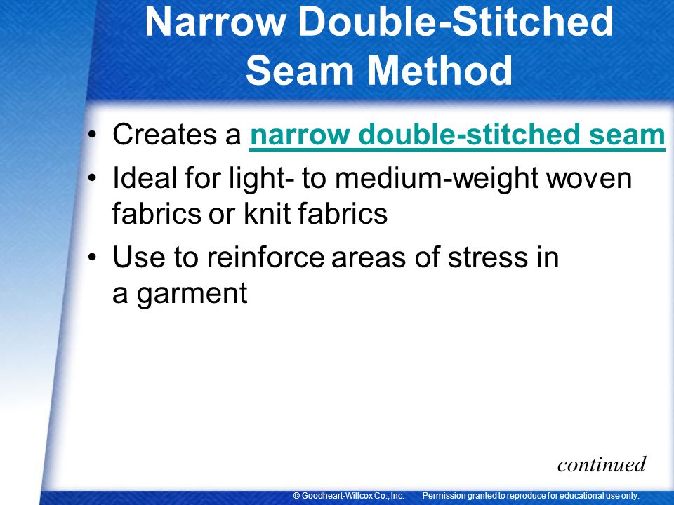 Narrow Double-Stitched Seam Method