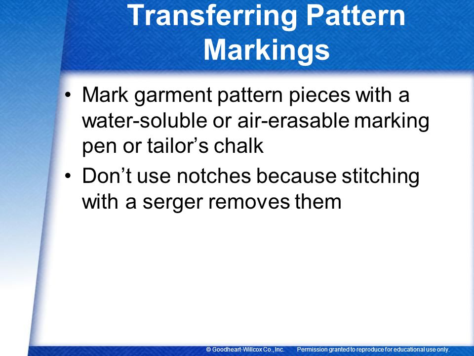 Transferring Pattern Markings