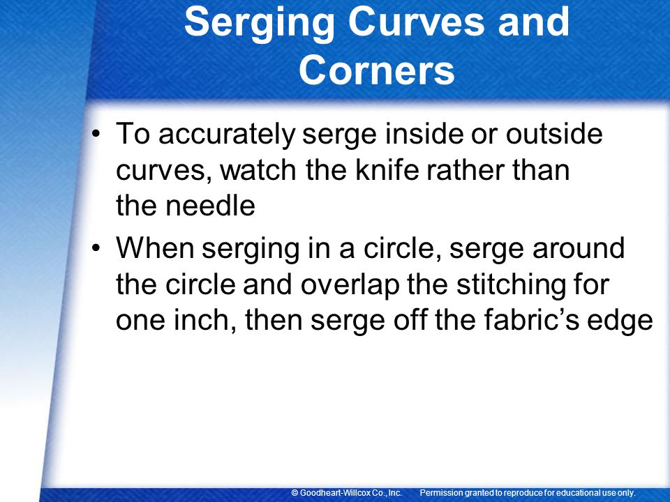 Serging Curves and Corners