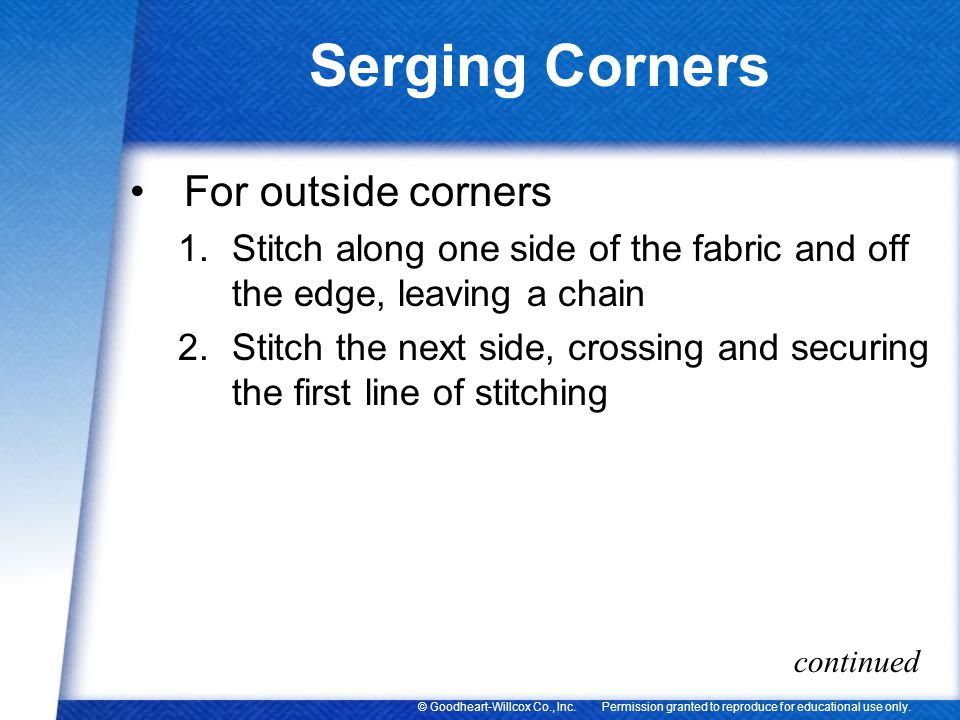 Serging Corners For outside corners