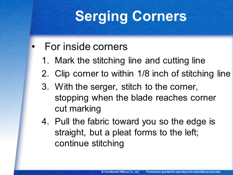 Serging Corners For inside corners