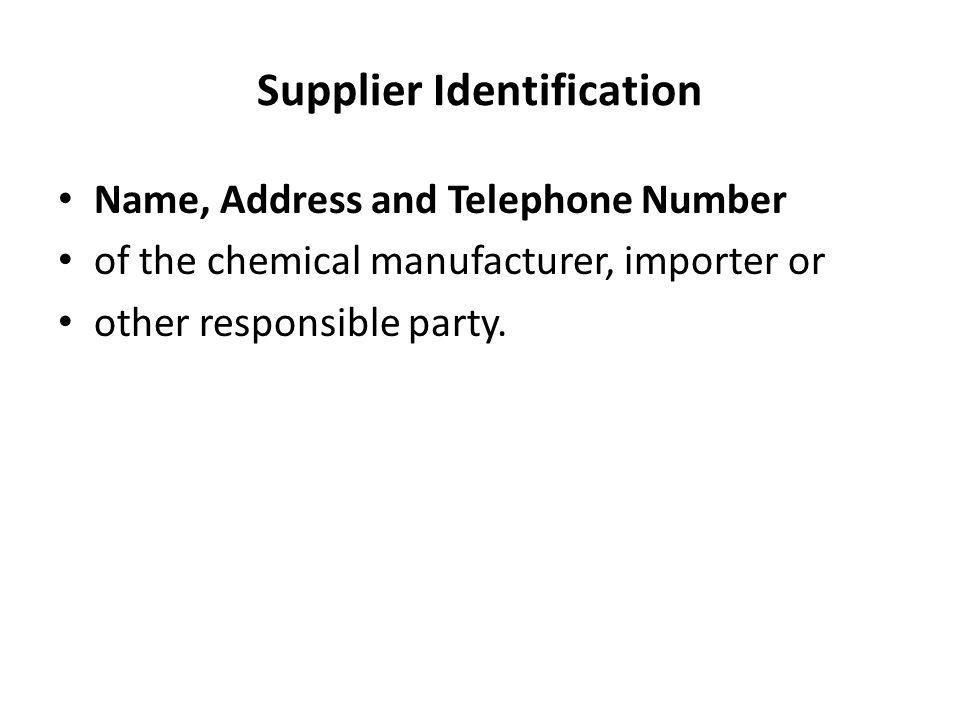 Supplier Identification