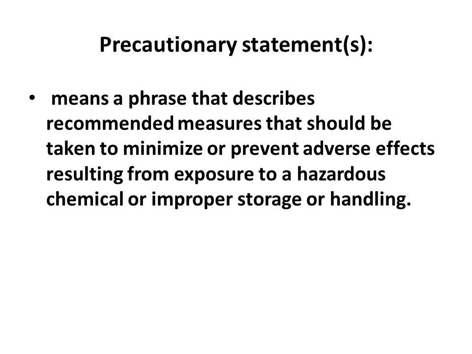 Precautionary statement(s):