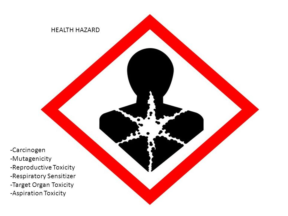 HEALTH HAZARD -Carcinogen. -Mutagenicity. -Reproductive Toxicity. -Respiratory Sensitizer. -Target Organ Toxicity.