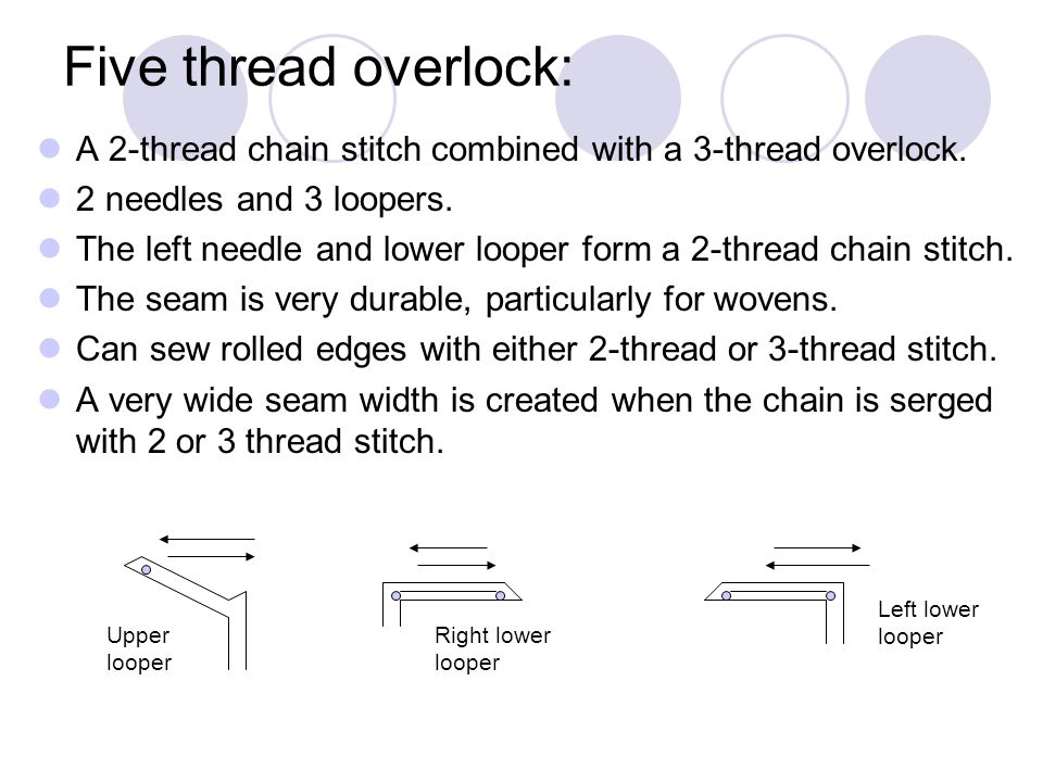 Five thread overlock: A 2-thread chain stitch combined with a 3-thread overlock. 2 needles and 3 loopers.