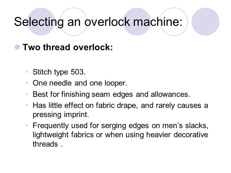 Selecting an overlock machine: