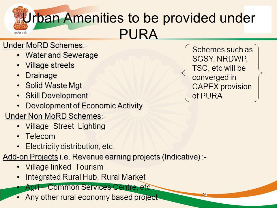 Urban Amenities to be provided under PURA