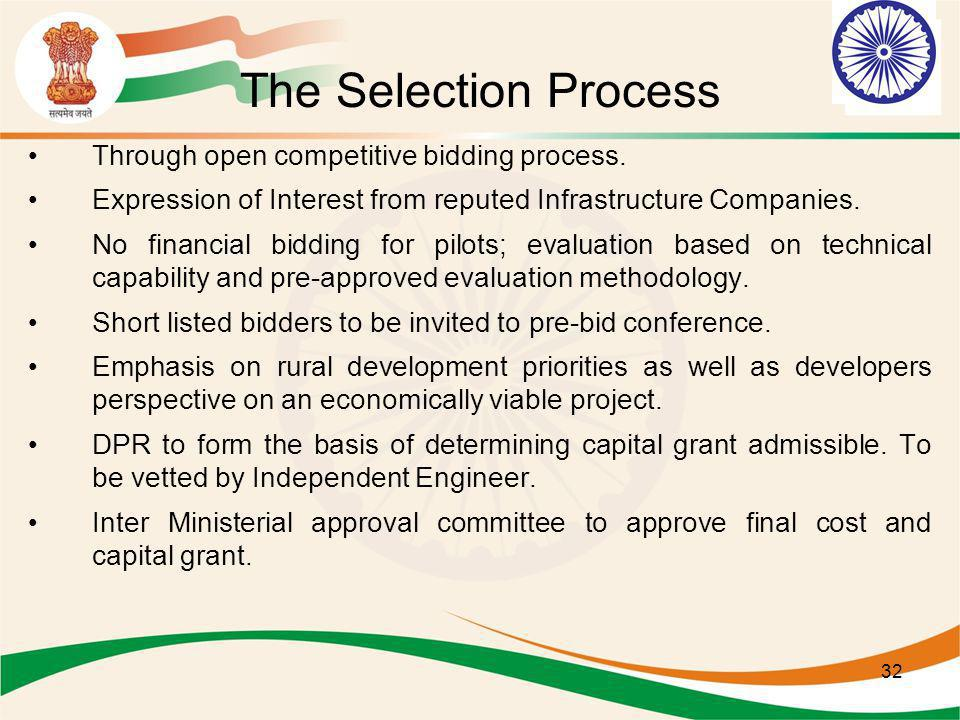 The Selection Process Through open competitive bidding process.
